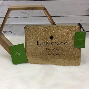 🆕 Kate Spade Sparkled Gold Makeup Bag